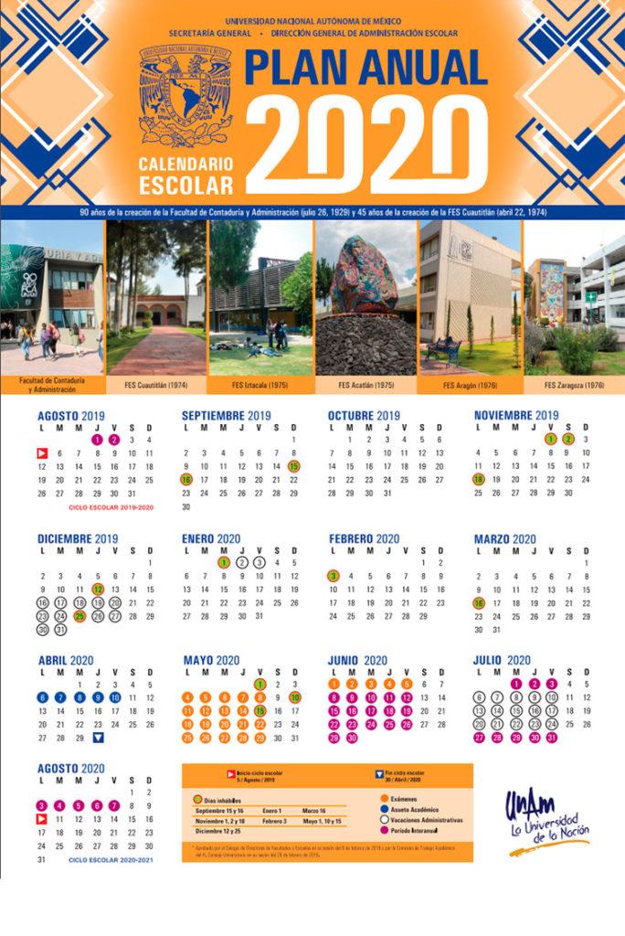 メキシコ国立自治大学の年間カレンダー