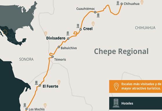 チワワ太平洋鉄道の列車が通る地図